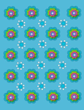 decorate: Scallop flowers and polka dot flowers decorate bright blue background. Stock Photo