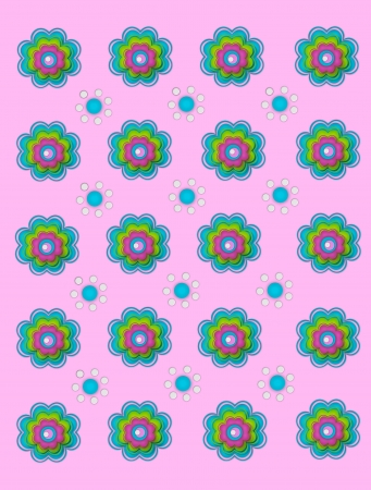 decorate: Scallop edged flowers and polka dot flowers decorate a pale pink background. Stock Photo
