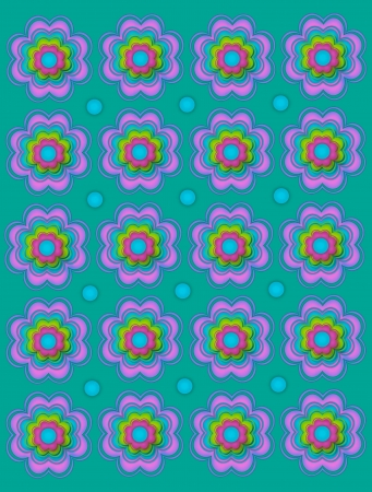 Pastel green background is covered in scalloped flowers and turquoise polka dots. Stock Photo