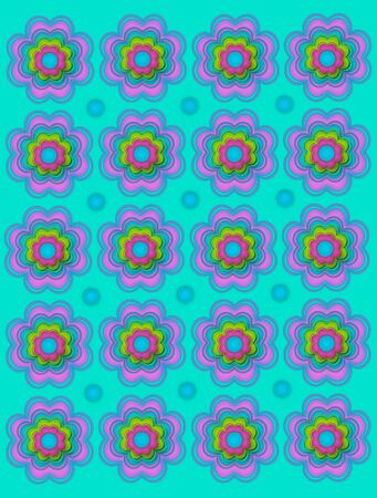 Vivid turquoise background is covered in scalloped flowers and aqua polka dots. Stock Photo