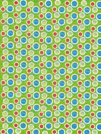 Soft focused polka dots are outlined in white.  Blue, Orange and green cirles fill foreground and background. Stock Photo - 17120670