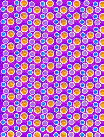 Soft focused polka dots are outlined in white.  Blue, Orange and purplel circles fill foreground and background. Stock Photo - 17126779