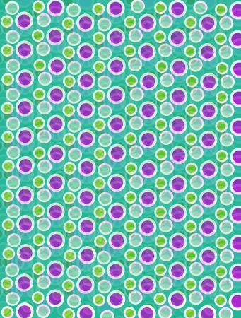 Soft focused polka dots are outlined in white.  Purple, green and teal circles fill foreground and background. Stock Photo - 17126716