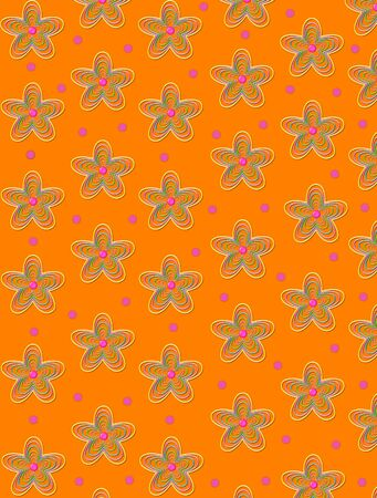 centers: 3D Strings of color form star shaped flowers with pink button centers.  Polka dots in pink fill space between flowers.