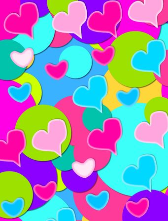 Background is covered in large and small multi-colored circles.  Hand drawn hearts in multi-colors top circles.