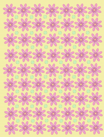 Pale yellow background is decorated with pink diaises and green, polka dots.