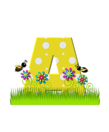 The letter A, in the alphabet set, is yellow with white polka dots.  Bordered by tall grass and 3D flowers, letter is buzzed by two 3D bumble bees.