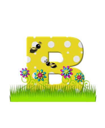 tall grass: The letter B, in the alphabet set, is yellow with white polka dots.  Bordered by tall grass and 3D flowers, letter is buzzed by two 3D bumble bees.