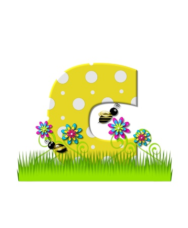 The letter C, in the alphabet set, is yellow with white polka dots.  Bordered by tall grass and 3D flowers, letter is buzzed by two 3D bumble bees. Banque d'images