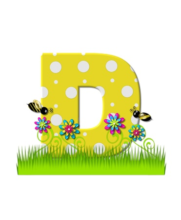 bee on flower: The letter D, in the alphabet set, is yellow with white polka dots.  Bordered by tall grass and 3D flowers, letter is buzzed by two 3D bumble bees. Stock Photo