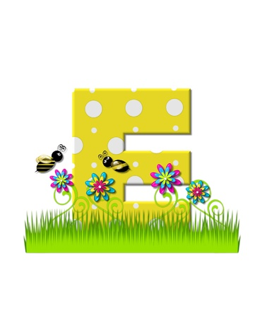 The letter E, in the alphabet set, is yellow with white polka dots.  Bordered by tall grass and 3D flowers, letter is buzzed by two 3D bumble bees.