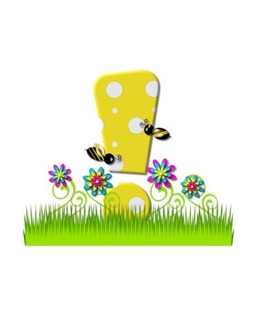 tall grass: Exclamation point , in the alphabet set, is yellow with white polka dots.  Bordered by tall grass and 3D flowers, letter is buzzed by two 3D bumble bees. Stock Photo