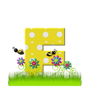 tall grass: The letter F, in the alphabet set, is yellow with white polka dots.  Bordered by tall grass and 3D flowers, letter is buzzed by two 3D bumble bees. Stock Photo