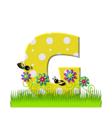 tall grass: The letter G, in the alphabet set, is yellow with white polka dots.  Bordered by tall grass and 3D flowers, letter is buzzed by two 3D bumble bees.