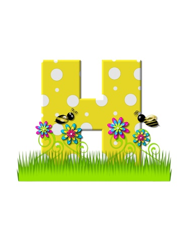 tall grass: The letter H, in the alphabet set, is yellow with white polka dots.  Bordered by tall grass and 3D flowers, letter is buzzed by two 3D bumble bees.