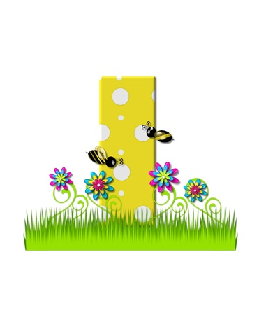 tall grass: The letter I, in the alphabet set, is yellow with white polka dots.  Bordered by tall grass and 3D flowers, letter is buzzed by two 3D bumble bees. Stock Photo
