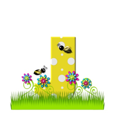 tall grass: The letter J, in the alphabet set, is yellow with white polka dots.  Bordered by tall grass and 3D flowers, letter is buzzed by two 3D bumble bees.