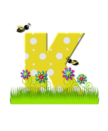 tall grass: The letter K, in the alphabet set, is yellow with white polka dots.  Bordered by tall grass and 3D flowers, letter is buzzed by two 3D bumble bees. Stock Photo