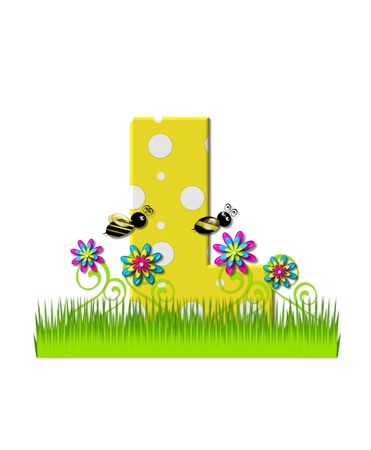 tall grass: The letter L, in the alphabet set, is yellow with white polka dots.  Bordered by tall grass and 3D flowers, letter is buzzed by two 3D bumble bees. Stock Photo