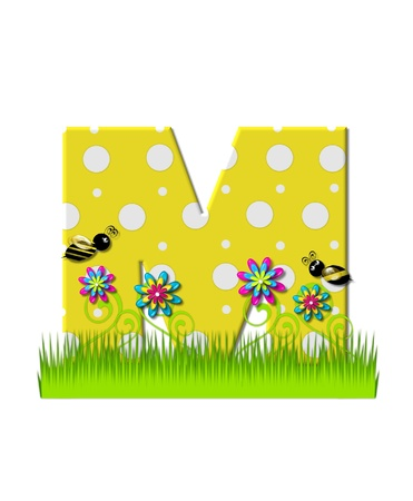 tall grass: The letter M, in the alphabet set, is yellow with white polka dots.  Bordered by tall grass and 3D flowers, letter is buzzed by two 3D bumble bees.