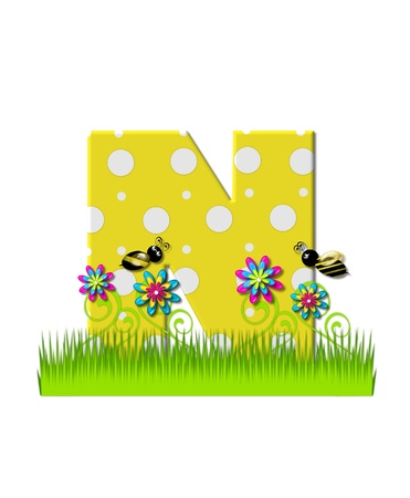 tall grass: The letter N, in the alphabet set, is yellow with white polka dots.  Bordered by tall grass and 3D flowers, letter is buzzed by two 3D bumble bees.