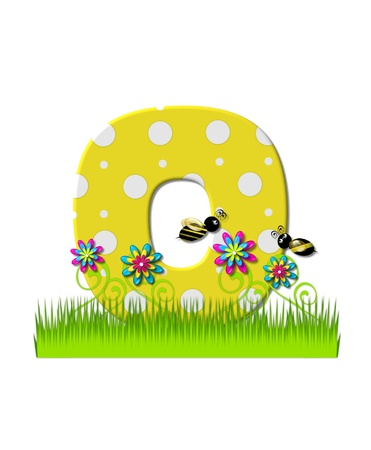 The letter O, in the alphabet set, is yellow with white polka dots.  Bordered by tall grass and 3D flowers, letter is buzzed by two 3D bumble bees. photo