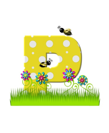 tall grass: The letter P, in the alphabet set, is yellow with white polka dots.  Bordered by tall grass and 3D flowers, letter is buzzed by two 3D bumble bees.