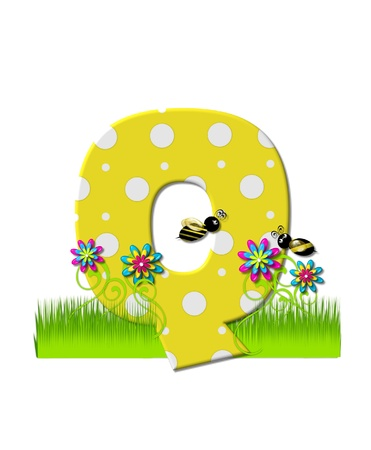 tall grass: The letter Q, in the alphabet set, is yellow with white polka dots.  Bordered by tall grass and 3D flowers, letter is buzzed by two 3D bumble bees.