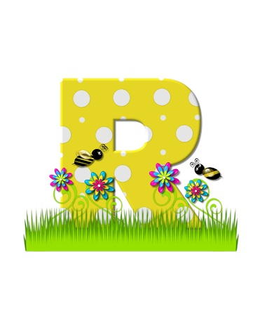 tall grass: The letter R, in the alphabet set, is yellow with white polka dots.  Bordered by tall grass and 3D flowers, letter is buzzed by two 3D bumble bees.