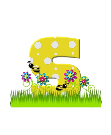 tall grass: The letter S, in the alphabet set, is yellow with white polka dots.  Bordered by tall grass and 3D flowers, letter is buzzed by two 3D bumble bees. Stock Photo