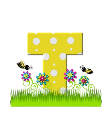 tall grass: The letter T, in the alphabet set, is yellow with white polka dots.  Bordered by tall grass and 3D flowers, letter is buzzed by two 3D bumble bees. Stock Photo