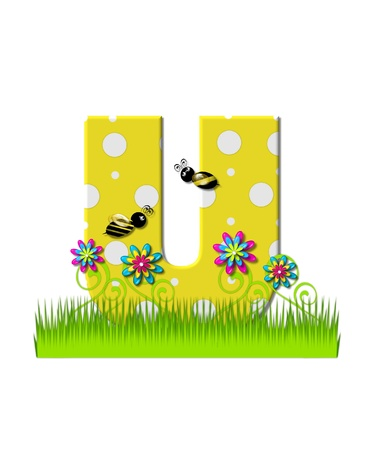 tall grass: The letter U, in the alphabet set, is yellow with white polka dots.  Bordered by tall grass and 3D flowers, letter is buzzed by two 3D bumble bees.