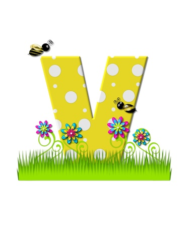 tall grass: The letter V, in the alphabet set, is yellow with white polka dots.  Bordered by tall grass and 3D flowers, letter is buzzed by two 3D bumble bees. Stock Photo