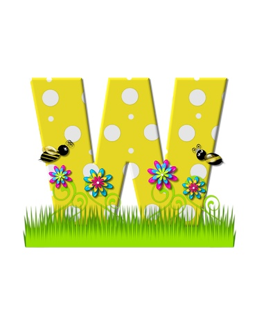tall grass: The letter W, in the alphabet set, is yellow with white polka dots.  Bordered by tall grass and 3D flowers, letter is buzzed by two 3D bumble bees. Stock Photo