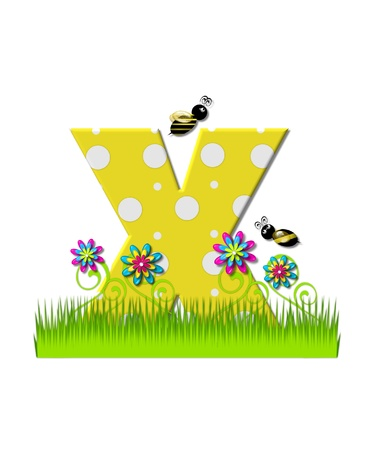 The letter X, in the alphabet set, is yellow with white polka dots.  Bordered by tall grass and 3D flowers, letter is buzzed by two 3D bumble bees. photo