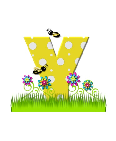 tall grass: The letter Y, in the alphabet set, is yellow with white polka dots.  Bordered by tall grass and 3D flowers, letter is buzzed by two 3D bumble bees.