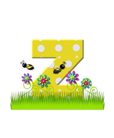 tall grass: The letter Z, in the alphabet set, is yellow with white polka dots.  Bordered by tall grass and 3D flowers, letter is buzzed by two 3D bumble bees.