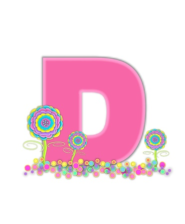 The letter D, in the alphabet set, is soft pink and outlined with light pink.  Pastel colored 3D flowers decorate base of letter and multi-sized polka dots sprinkle white background. Stock Photo