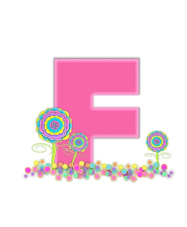 The letter F, is soft pink and outlined with light pink.  Pastel colored 3D flowers decorate base of letter and multi-sized polka dots sprinkle white background. Stock Photo