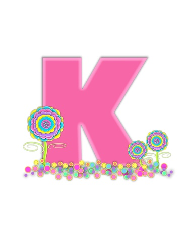 The letter K, in the alphabet set, is soft pink and outlined with light pink.  Pastel colored 3D flowers decorate base of letter and multi-sized polka dots sprinkle white background. Stock Photo