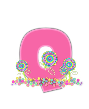 The letter Q, in the alphabet set, is soft pink and outlined with light pink.  Pastel colored 3D flowers decorate base of letter and multi-sized polka dots sprinkle white background.