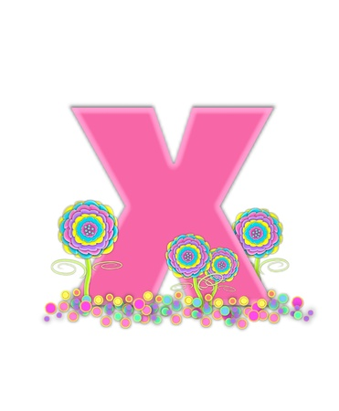 The letter X, in the alphabet set, is soft pink and outlined with light pink.  Pastel colored 3D flowers decorate base of letter and multi-sized polka dots sprinkle white background. photo