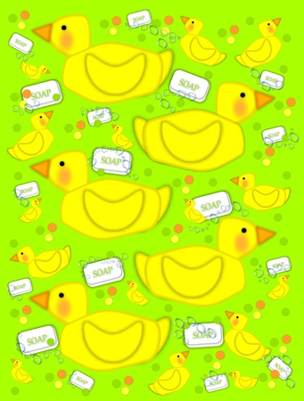 Playful yellow duck sits on next to soap and bubbles on a green background.  Background is filled with baby ducks and polka dots of yellow, green and orange. photo