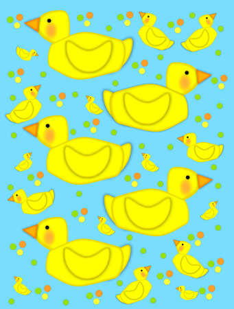 Playful yellow duck swims across aqua background filled with baby ducks and polka dots of yellow, green and orange. photo