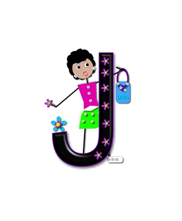 child holding sign: The letter J, is black with 3D flowers decorating letter.  A stick figure girl holds her purse with one hand and stands besides letter. Stock Photo
