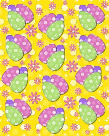 polka dotted: Fondo de Pascua incluye tr�o de huevos de Pascua y margaritas rosadas de puntos de polca. Puntos rellenos de fondo.