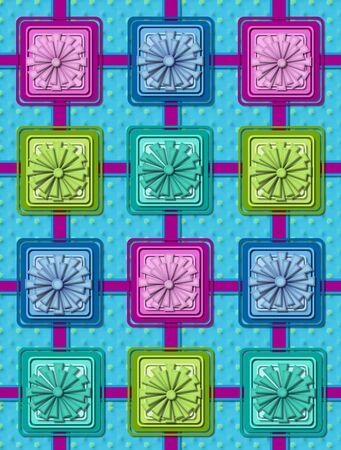 coordinating: Aqua background has polka dots and is criss-crossed with aqua ribbon outlined in blue.  Square gift boxes with coordinating bows sit on intersection of ribbon.