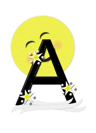nightime: The letter A, in the alphabet set Moon Beam is in 3D and black.  Stars and polka dots decorate letter.  A smiling moon beam peeks around letter. Stock Photo