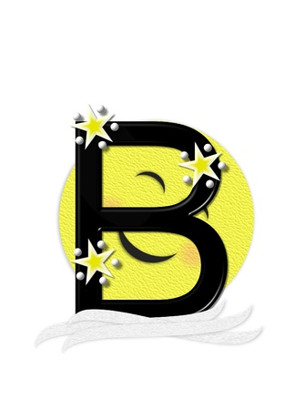 nightime: The letter B, in the alphabet set Moon Beam is in 3D and black.  Stars and polka dots decorate letter.  A smiling moon beam peeks around letter.