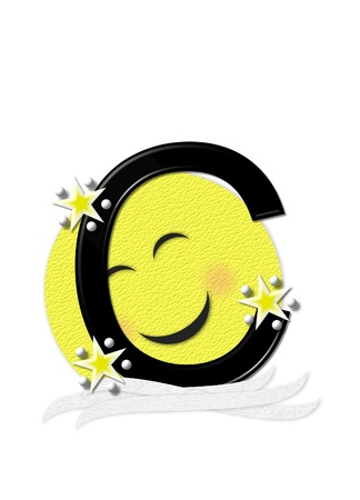 nightime: The letter C, in the alphabet set Moon Beam is in 3D and black.  Stars and polka dots decorate letter.  A smiling moon beam peeks around letter. Stock Photo